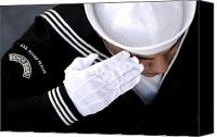 White Gloves Canvas Prints - An Honor Guard Member Renders A Salute Canvas Print by Stocktrek Images