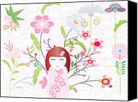 Maple Leafs Canvas Prints - An Illustration Of A Japanese Style Doll With An Array Of Different Flowers In The Background Canvas Print by Neslihan Rawles
