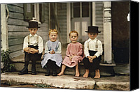 Appearance Canvas Prints - An Informal Group Portrait Of Amish Canvas Print by J. Baylor Roberts