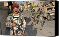 Insurgency Canvas Prints - An Iraqi Soldier Leads The Way Canvas Print by Everett