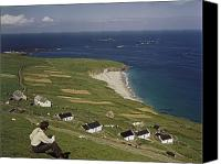 Caucasian Appearance Canvas Prints - An Irishman Overlooks Cottages That Canvas Print by Howell Walker