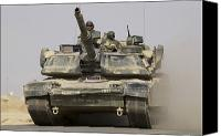 Operation Iraqi Freedom Canvas Prints - An M1a1 Abrams Tank Heading Canvas Print by Stocktrek Images