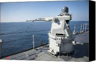 Naval Warfare Canvas Prints - An Mk-38 Machine Gun System Aboard Uss Canvas Print by Stocktrek Images