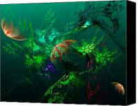 Fine Art Fractal Art Canvas Prints - An Octopuss Garden Canvas Print by David Lane