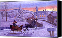 Road Painting Canvas Prints - An Old Fashioned Christmas Canvas Print by Richard De Wolfe