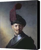 Military Uniform Painting Canvas Prints - An Old Man in Military Costume Canvas Print by Rembrandt