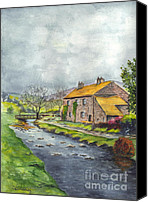 Stormy Drawings Canvas Prints - An Old Stone Cottage in Great Britain Canvas Print by Carol Wisniewski