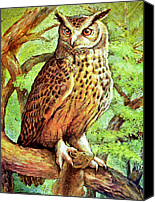 Natalie Berman Canvas Prints - An Owl With its Prey Canvas Print by Natalie Berman