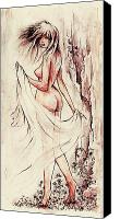 Fantasy Fairy Drawings Canvas Prints - An unexpected visit Canvas Print by Rachel Christine Nowicki
