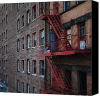 Nyc Fire Escapes Canvas Prints - An Urban Escape Canvas Print by Cornelis Verwaal
