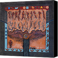 Tree Ceramics Canvas Prints - Ancestral Chart- ancient early - Hunters Gatherers - Chasseurs Cueilleurs - Cazadores Recolectores  Canvas Print by Urft Valley Art