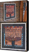 Rock And Roll Ceramics Canvas Prints - Ancestral Chart- Hunter Gatherers - Jakt og Sanking - Jaegara Samlare - Sammler Jaeger Canvas Print by Urft Valley Art