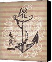 Tattoo Canvas Prints - Anchor Canvas Print by Adrienne Stiles