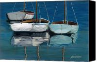 Sailboats Canvas Prints - Anchored Reflections I Canvas Print by Sharon Kearns