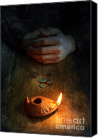 Oil Lamp Canvas Prints - Ancient Coins and Oil Lamp Canvas Print by Jill Battaglia