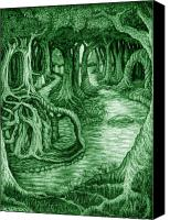 Mystical Drawings Canvas Prints - Ancient Forest Canvas Print by Debra A Hitchcock
