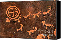 Shaman Canvas Prints - Ancient Indian Petroglyphs Canvas Print by Gary Whitton
