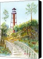 Florida Bridge Painting Canvas Prints - Anclote Key Lighthouse Canvas Print by JC Prida