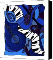 Saxaphone Painting Canvas Prints - and All That Jazz two Canvas Print by Wayne Potrafka