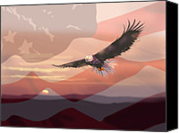 Patriotic Canvas Prints - And the Eagle Flies Canvas Print by Paul Sachtleben