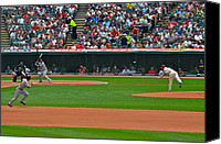 Cleveland Stadium Canvas Prints - And the Runner Goes Canvas Print by Robert Harmon
