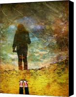 Puddle Canvas Prints - And Then He Turned Her World Upside Down Canvas Print by Tara Turner
