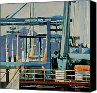 Sausalito Painting Canvas Prints - Anderson Boat Yard Canvas Print by Andrew Drozdowicz