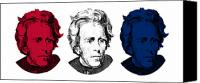 Andrew Digital Art Canvas Prints - Andrew Jackson Red White and Blue Canvas Print by War Is Hell Store
