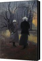 Winter Canvas Prints - Andrew Wyeth and Odd Nerdrum Canvas Print by Richard T Scott