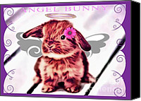 Critters Mixed Media Canvas Prints - Angel Bunny Canvas Print by Tisha McGee