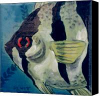 Beaches Ceramics Canvas Prints - Angel Fish Canvas Print by Dy Witt