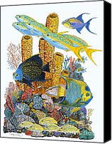 Angel Fish Canvas Prints - Angel Fish Reef Canvas Print by Carey Chen