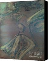 Angel Blues  Painting Canvas Prints - Angel in Wind Canvas Print by Joyce Auteri
