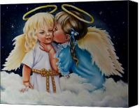 Angels Canvas Prints - Angel Kiss Canvas Print by Joni McPherson