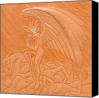 War Reliefs Canvas Prints - Angel of Death at War Canvas Print by Ron Moses