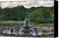 Bethesda Fountain Canvas Prints - Angel of the Waters Fountain  Bethesda Canvas Print by Lee Dos Santos