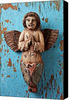 Peeling Canvas Prints - Angel on blue wooden wall Canvas Print by Garry Gay
