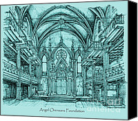 Nyc Drawings Canvas Prints - Angel Orensanz in blue Canvas Print by Lee-Ann Adendorff