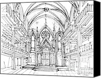 Nyc Drawings Canvas Prints - Angel Orensanz sketch 2 Canvas Print by Lee-Ann Adendorff