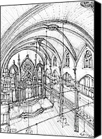 Nyc Drawings Canvas Prints - Angel Orensanz sketch 3 Canvas Print by Lee-Ann Adendorff