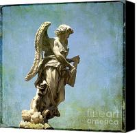 Works Canvas Prints - Angel. Ponte SantAngelo. Rome Canvas Print by Bernard Jaubert
