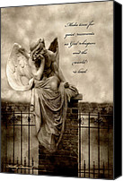 Angel Memorial Art Photo Canvas Prints - Angel Resting On Fence Inspirational Angel Art Canvas Print by Kathy Fornal