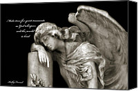 Angel Memorial Art Photo Canvas Prints - Angel Resting On Post Inspirational Angel Art Canvas Print by Kathy Fornal