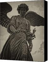 Bethesda Fountain Canvas Prints - Angel Statue Bethesda Fountain Central Park Canvas Print by Robert Ullmann