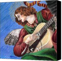 Angel Blues  Drawings Canvas Prints - Angel with Epiphone Canvas Print by Susan Gore Gardner