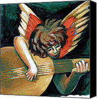 Gold Angel Card Canvas Prints - Angel With Guitar Canvas Print by Genevieve Esson