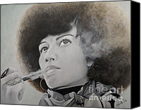 Panther Painting Canvas Prints - Angela Davis Canvas Print by Chelle Brantley
