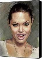 Jolie Canvas Prints - Angelina Jolie Canvas Print by Ylli Haruni