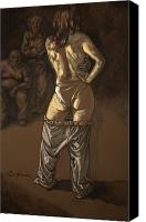 Female Nude Canvas Prints - Angelique with men Canvas Print by Paul Herman
