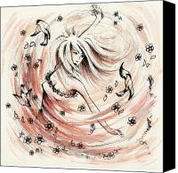 Fantasy Fairy Drawings Canvas Prints - Angels Dance Canvas Print by Rachel Christine Nowicki